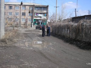 Gyumri 2 VHS student have to walk true mad to get to their school bulding