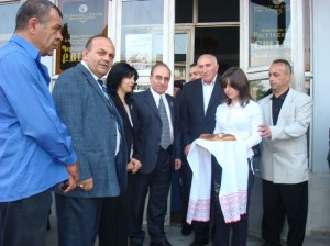 Vanadzor VHS principal, ISC and student greeting AAEF with the traditional Armenian ceremony brad & salt199