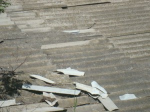 Vanadzor VHS College roof with broken asbestos cover  4