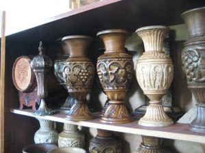 Yegegnadzor VHS carpentry students hand carved vases 559