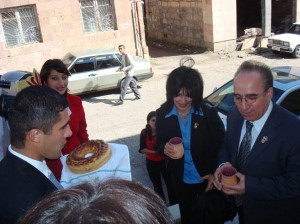 The traditional greeting ceremony for AAEF with brad  salt and wine offering Yeghegnadzor VHS students