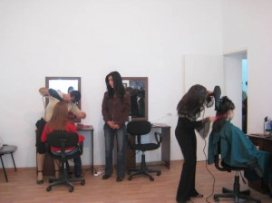 Yeghegnadzor VHS hairdresser  student  practicing whit their new equipment in new remodeled workshop